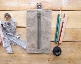 Waxed canvas pencil case - small tool pouch - made with hand prepared waxed canvas, dyed naturally, khaki green, leather tab with D ring