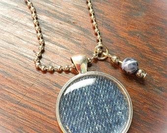 Denim jewelry, denim necklace, denim, jean jewelry, vintage denim, denim pendant, denim charms, jeans pendant, blue, gifts for her