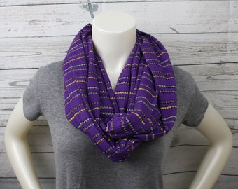 Knit Weight Purple Striped Infinity Scarf