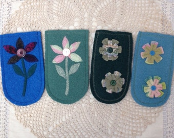 Recycled wool phone or eyeglass case with flowers-great for gift exchanges or stocking stuffers