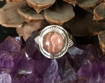 SALE!! Stunning, rhodochrosite, 925 sterling silver ring