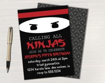 Ninja Birthday Invitations // Ninja Party Invitations // Ninja Invitations Birthday // Ninja Party Invites // Digital // Printable