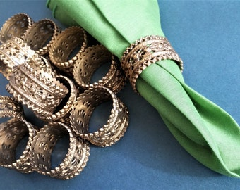 Set of 12 Cast bronze brass filigree openwork embossed napkin rings ~ Free domestic shipping