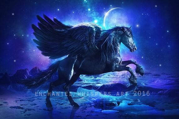 Pegasus print pegasus art black pegasus art black horse like this item voltagebd Images