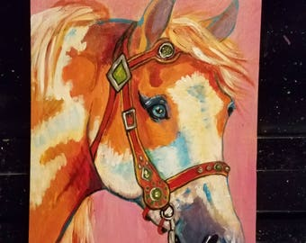 Horse painted on wood panel paint pinto western