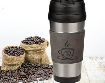 Gray Leatherette and Stainless Steel Personalized Coffee Travel Mug, Custom Engraved Office Gift