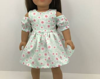 18 inch doll clothes-  Open shoulder dress in pale green with white and pink flowers.