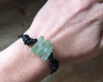 Sea Glass and Black Leather Bracelet - Real Sea Glass Bracelet, Seafoam Sea Glass Bracelet - Sea Glass Jewelry, Beach Glass Bracelet