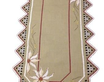 Handmade embroidered linen tablecloth Floral pattern Hardanger Swedish design. Scandinavian handcraft Christmas gift