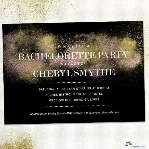 Gold Dust Look on Black Bachelorette Party Hens Night Invite ...