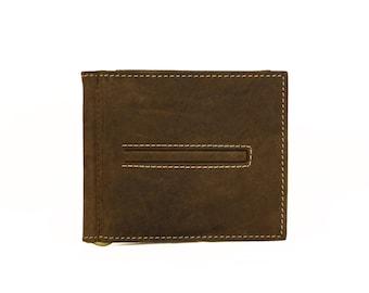 Money Clip Wallet Dark Brown Genuine Leather Handmade Sirocco-42265DB