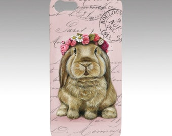 Bunny phone case, rabbit case, bunny mobile case, snap case for iPhone and Samsung Galaxy, animal device case,  snap case, slim case, rabbit