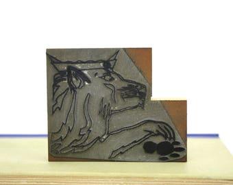 "Vintage Printing Letterpress Printers Block ""Lion with Paw Print"" Printers Cut"