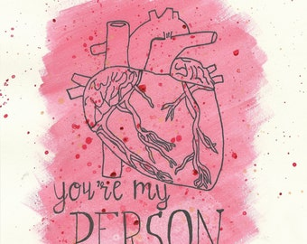 "Grey's Anatomy ""You're My Person"" Blank Greeting Card / Valentine's Day Card"