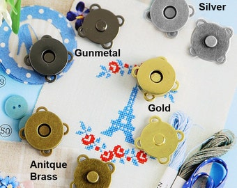 18mm Floral Magnetic Button, Total 4mm Thickness, Plated Metal Magnetic Snaps Closures with 4-loops. Pack in 10 sets (MB46-18)