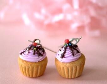 Miniature fake pink cupcake earrings, kawaii food earrings, food jewelry with polymer clay