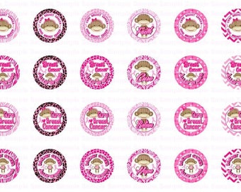 18mm Breast Cancer Awareness Sock Monkey Bottle Cap Images 4x6  Collage Scrapbooking Jewelry Hairbow Center