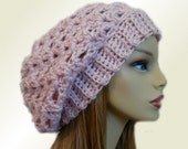 SLOUCHY Hat Pale Pink Slouchy Beanie Light Pink Rose Crochet Knit Slouchie Hat Beany Slouchy Slouch Soft Womens Hat Gift for Her