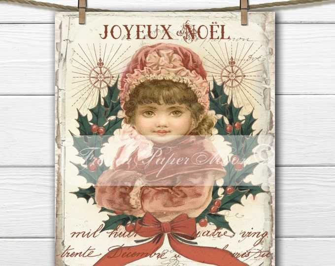 Shabby Red Bonnett Victorian Girl Digital, Vintage Christmas Girl, Holly Wreath, French Graphics, Instant Download Printable Fabric Transfer