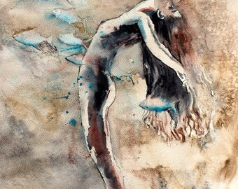Original Watercolor Painting -  Alive .Portrait of girl.