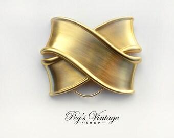 Vintage Monet Signed Gold tone Ribbon Bow Scarf Clip Slide