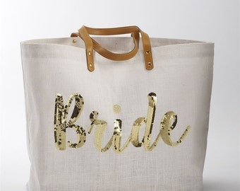 Gold Sequin Canvas Bride Tote