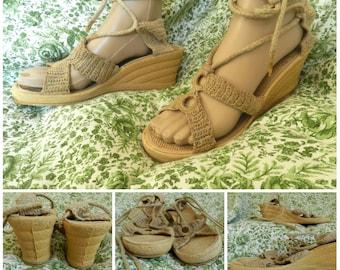 70s cork woven strappy beige raffia lace up wedge sandals u.k.7  u.s. 9.5