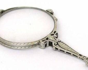 8813 - Tiffany & Co. Antique Platinum Folding Lornette Magnify Glasses