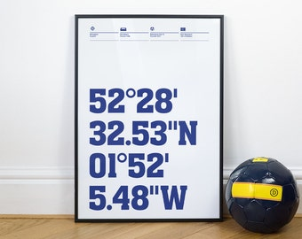 Birmingham City Football Stadium Coordinates Posters