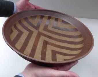 Large STUDIO POTTERY Stoneware dish with striped pattern by Jason Wason