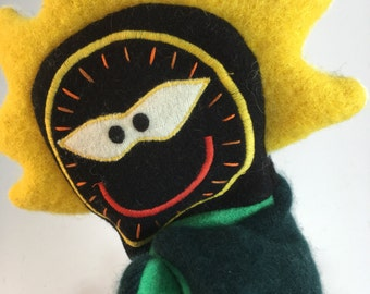 Flower Puppet-- Made from felted wool sweaters--Free Shipping!