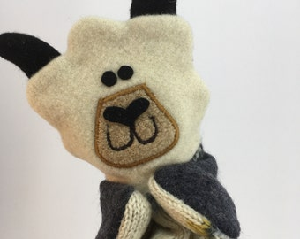 Sheep Puppet-- Made from felted wool sweaters--Free Shipping!