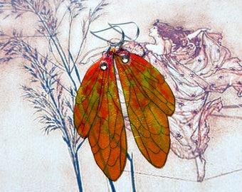 Fairy Wing Earrings, Fairy Earrings, Faerie Earrings, Iridescent Orange Earrings, Hand Painted, Orange Dangle Earrings, Boho Earrings