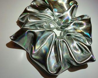 Large Holographic Metallic PVC UFO Hair Scrunchies Grunge 90s Hologram Kawaii Ties Bun Wraps Iridescent Girl Gang Accessory Silver Mermaid