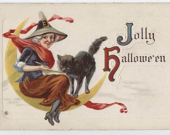 Halloween, vintage Halloween post card, witch, black cat, paper ephemera