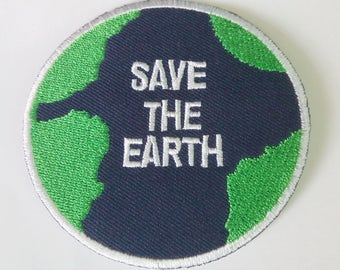 "Embroidered Save The Earth Iron on Patch Badge (2 7/8"")"