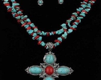 gorgeous turquoise & coral stones cross necklace and earrings