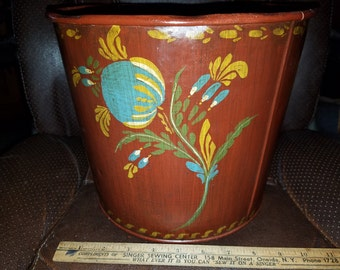 Toleware Painted Garbage Can