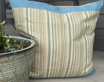 Blue Tan Outdoor Pillow Cover 24 x 24 inch Blue Stripe Pillow Cover Blue Outdoor Pillow Cover Large Outdoor Pillow Cover
