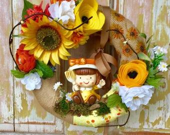 SALE  Summer sunflower wreath; Sunflower wreath; Vintage ornament wreath; Summer wreath with ceramic figurine
