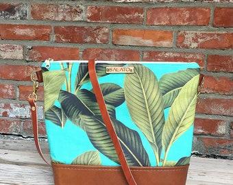 Palm Leaf Crossbody - Leather Crossbody Bag - Leather Crossbody - shoulder Purse - Leather Crossbody Purse - Leather Purse - Crossbody Purse