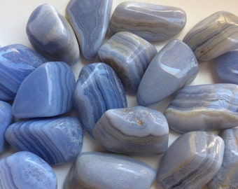Blue Lace Agate, Extra Large Tumbled Stone, Calming, Healing Stone, Healing Crystal, Chakra Stone, Spiritual Stone
