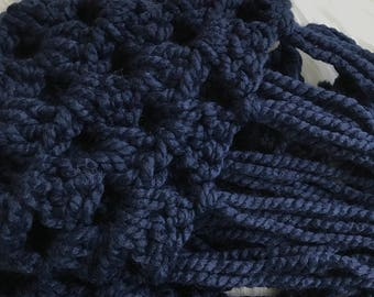 Ready to Ship Scarf Triangle Fringe Scarf Ready To Ship Sale Crochet Scarf Navy Blue Scarf - the Hollow - as pictured