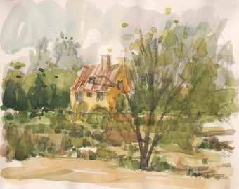 "Brittany countryside landscape painting ""French countryside near Rennes, Brittany IV"" watercolor original wall art french decor ladscape"