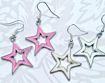 Popular brand star earrings on nickel free ear wires.