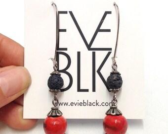 Double drop earrings, natural stone earrings, dangly earrings, swing earrings