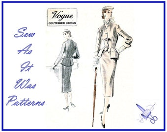 1950s Rare Vogue Couturier Design 621 Two Piece Peplum Jacket Pencil Skirt Suit Collarless Wing Cuffs Vintage Sewing Pattern Size 14 Bust 32