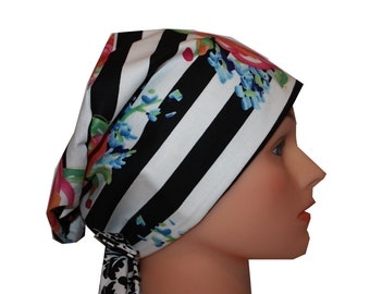 Scrub Hat Surgical Medical Cap Chemo Chef Vet Nurse Dr Hat European Style Pixie Pink Roses Blue Green Black Stripes 2nd Item Ships FREE