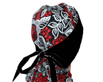 Surgical Scrub Hat Medical Scrub Cap Flirty Front Fold Ponytail scrub hat Tie Back Red Silver Floral  2nd Item Ships FREE