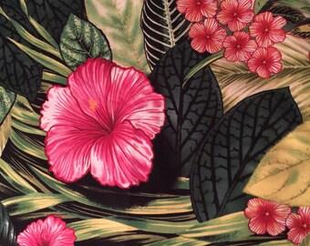 "Remnant 12""x44"" Tropical Fabric Hibiscus Foliage - Island Sanctuary Robert Kaufman 7627 - 100% Quality Cotton"